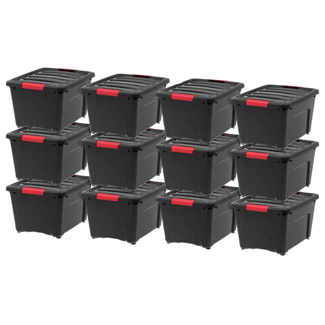 588247-6PK IRIS 32 Quart Stack and Pull Storage Container Box Bin System w/ Lids (12 Pack)