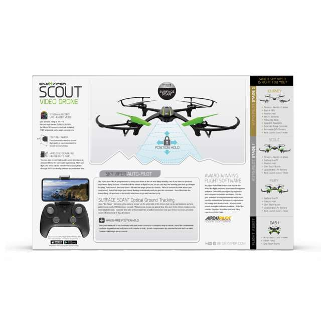 SKY-01848 + 2 x SKY-01846 Sky Viper Scout Live Streaming Video Drone & 2 Batteries 5