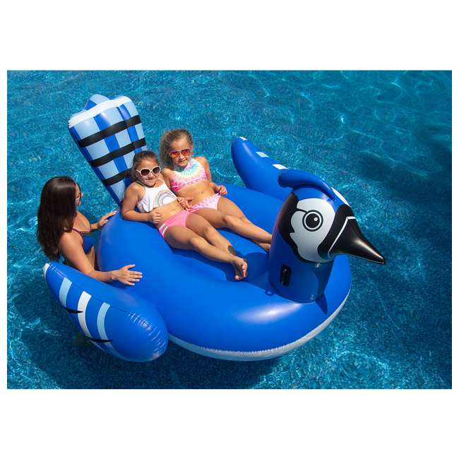 SL-90720M-U-A Swimline Giant Inflatable Blue Jay Swimming Pool Ride-On Float (Open Box) 3