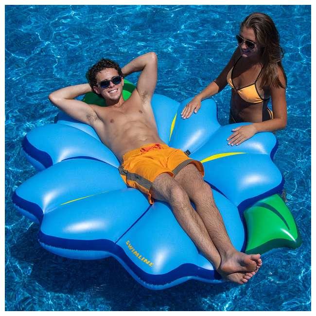 "3 x SL-90560M Swimline 75"" Inflatable Primrose Flower Relaxation Lounge Float, Blue (3 Pack) 2"