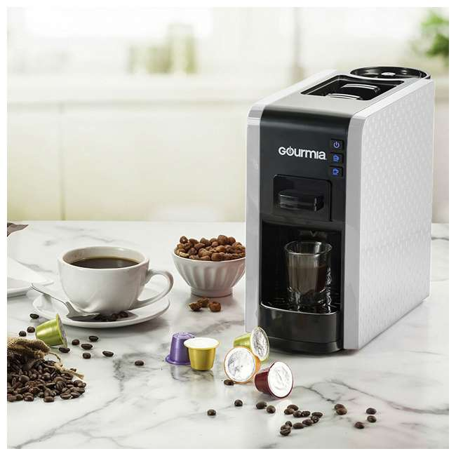 GCM7000W Gourmia 2 Touch Automated 1 Serve Multi Capsule Coffee and Espresso Machine, White 2