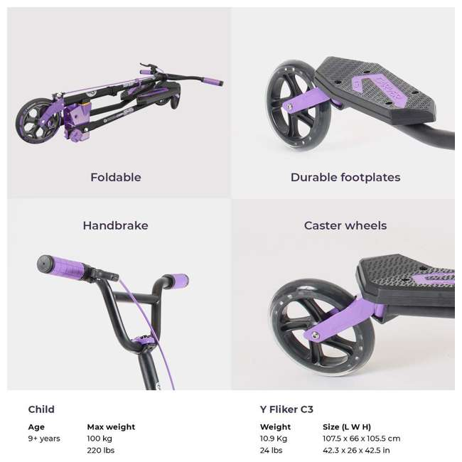100607 Yvolution Y Fliker Carver C5 Kids/Adult Foldable Wiggle Drifting Scooter, Purple 3
