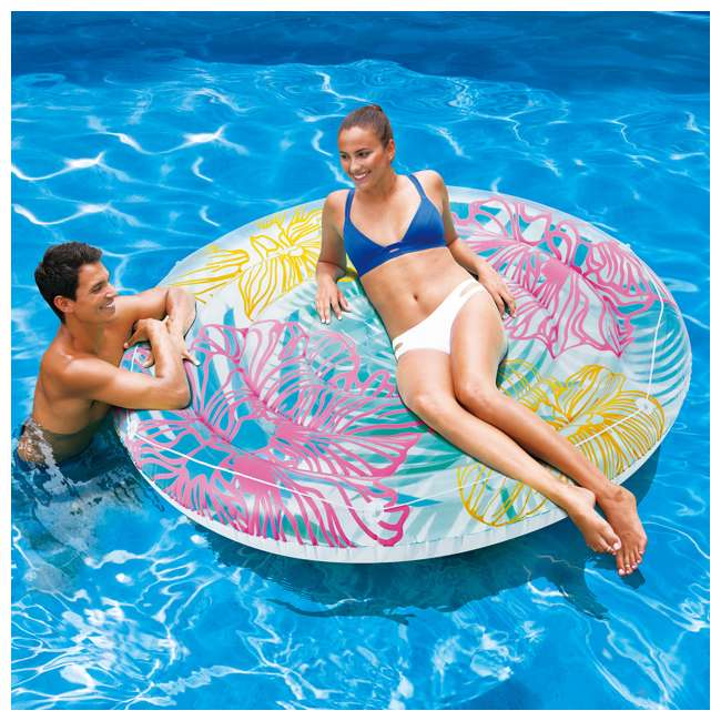 P4N024521167 + K80002000167 + K80188000167 Summer Waves Round 24 Foot Frame Pool w/ Inflatable Swirl Hibiscus Floats 11