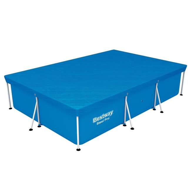 58106-BW-NEW Bestway 58106 Flowclear Pro Rectangular Above Ground Swimming Pool Cover, Blue 1