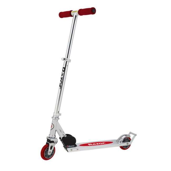 13003A2-RD Razor A2 Kids Folding Aluminum Portable Kick Push Wheeled Scooter, Red (2 Pack) 1