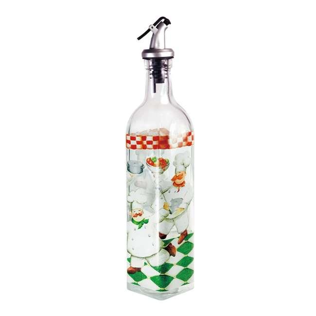 GH-39110 Grant Howard Chefs Hand Painted Glass Oil and Vinegar Cruet Bottle 16 Ounces, Clear