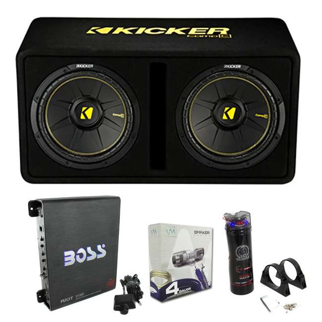 44DCWC122 + R1100M + 4GAMPKIT-SFLEX + BCAP2.2 Kicker 44DCWC122 12-Inch 1200W Subwoofers Subwoofer Enclosure with Amp with Capacitor with Wire