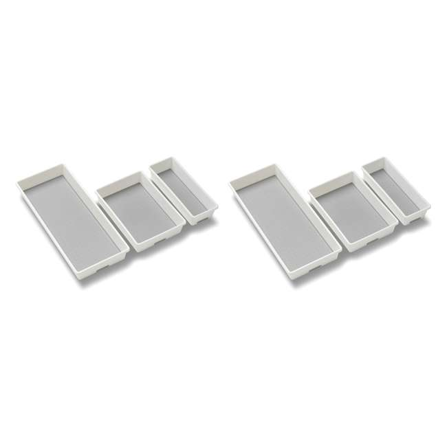 29003 MadeSmart Home Drawer Organizer 3 Tray Pack, White (2 Pack)
