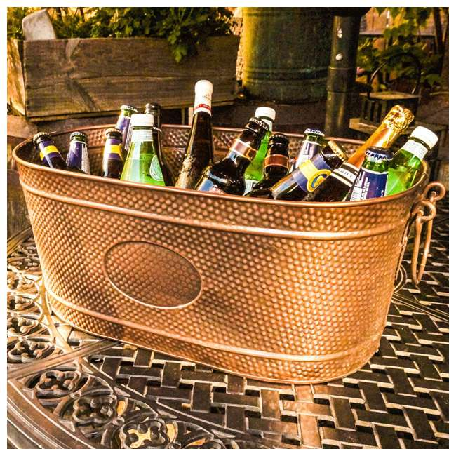 19088x3 + 17689x2x2 BREKX Copper Finish Ice Bucket Tub + Rose Copper Finish Steel Beverage Tub 2