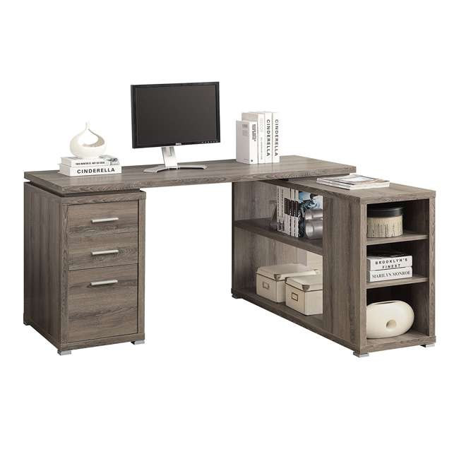"VM-7319-U-A Monarch 60"" L Shaped Corner Computer Desk with Drawers, Dark Taupe (Open Box) 2"