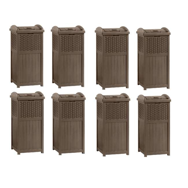 8 x GHW1732 Suncast Trash Hideaway 33 Gallon Resin Wicker Outdoor Garbage Container (8 Pack)