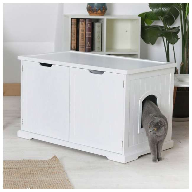 MPS010-U-D Merry Products Bench with Enclosed Cat Litter Washroom Box, White (Damaged) 1