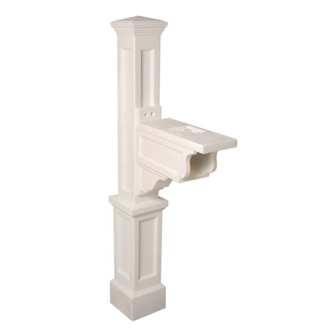 MO-5810-W Mayne Outdoor 5810 Dover Plastic Mailbox Post Pole Mount w/ Paper Holder, White