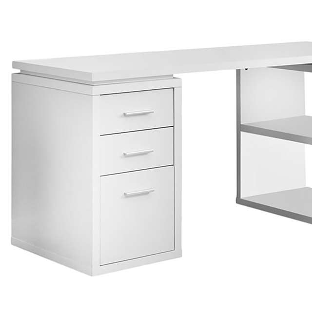 VM-7023-U-A Monarch L Shaped Contemporary Office Computer Desk with Drawers White (Open Box) 2