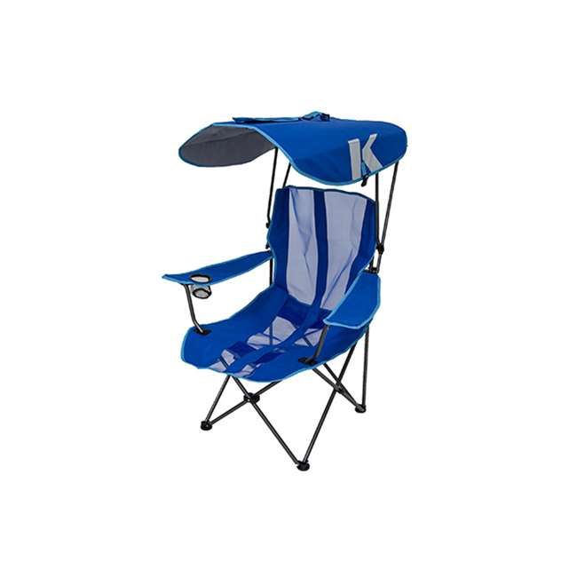 80185 + 80187 Kelsyus Premium Portable Camping Folding Lawn Chairs with Canopy, Blue & Black 1