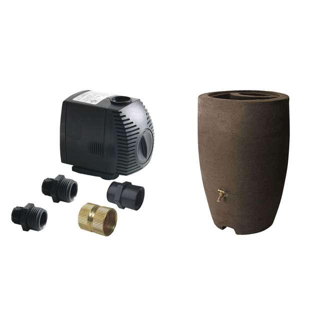 ALG-81062 + ALG-86312 Algreen 500GPH Watering System Pump + 50 Gallon Rain Water Collection Barrel