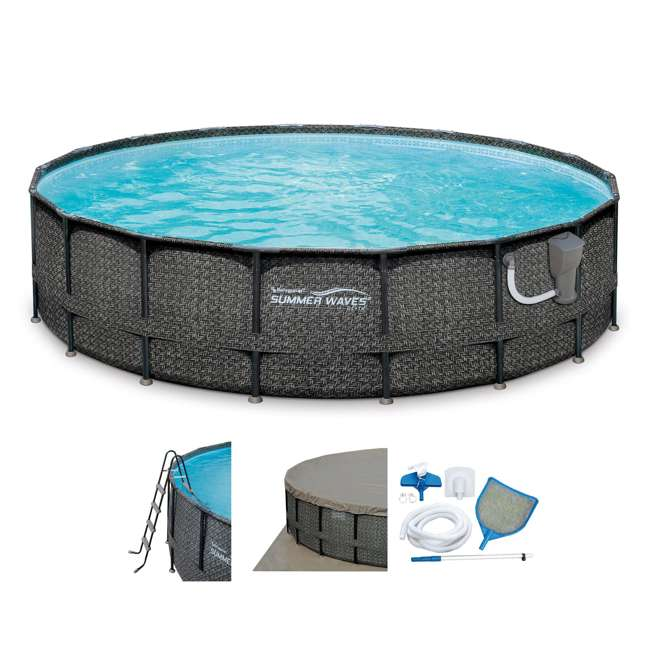 "P4A01848B167 + 28001E Summer Waves Elite 18' x 48"" Above Ground Frame Pool Set + Intex Automatic Above Ground Pool Vacuum"