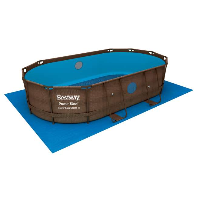 56715E-BW + 58234E-BW Bestway 14ft x 8ft x 3.3ft Power Swim Vista Pool Set with Pump & Cleaning Kit 7