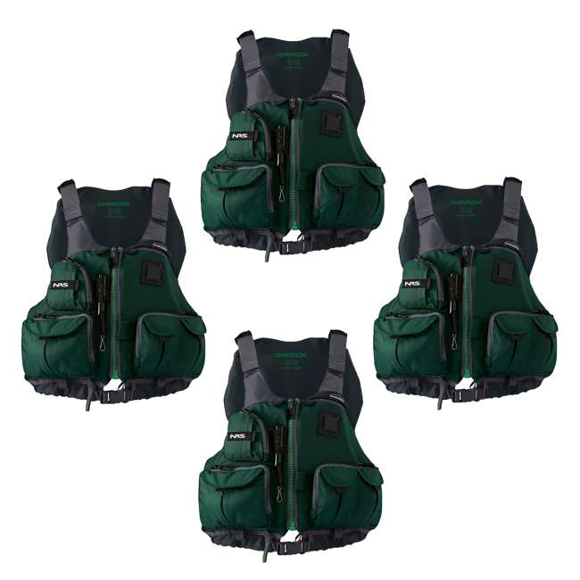 4 x NRS_40009_03_100 NRS Chinook PFD Small/ Medium Safety Life Jacket, Green (4 Pack)