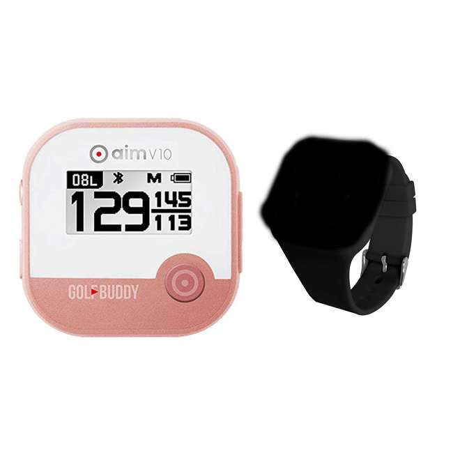 AIM-V10-RG + GB7-WRSTB-BLK GolfBuddy Aim V10 LCD Display Talking Visual Golf Green GPS + Silicon Wristband