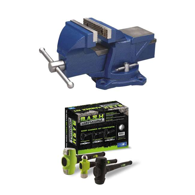 WIL-11104 + JPW-11111 Wilton 4 Inch Anvil Work Bench Vise + 3 Piece Steel Mechanics Hammer Set Kit