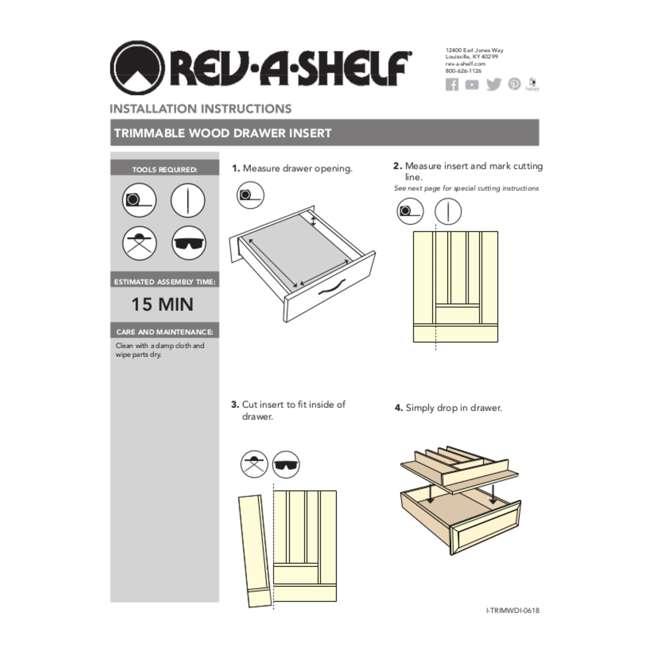 4WUT-3SH Rev-A-Shelf 4WUT-3SH Kitchen Drawer Shallow Wood Utility Tray Insert, Natural 5