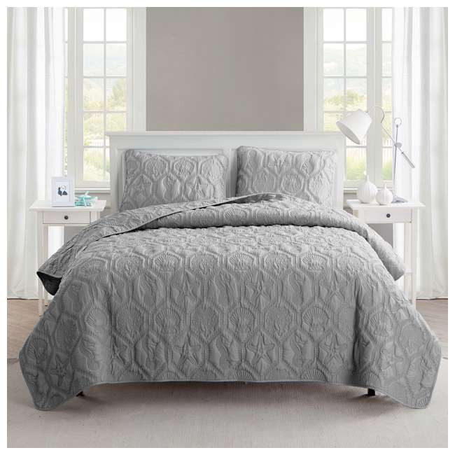 SHO-3QT-QUEN-IN-GV VCNY Home Shore Gray 3 Piece Reversible Bed Quilt and 2 Pillow Shams Set, Queen 1
