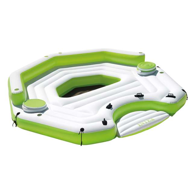 56291CA-U-B Intex Inflatable Key Largo Party Island w/ Built-In Coolers & Cupholders | Used