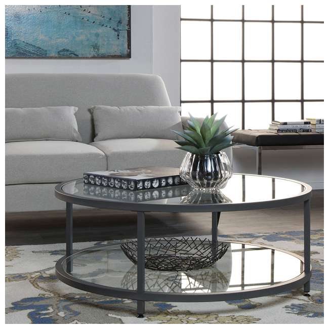 STDN-71003 Studio Designs Home Contemporary Camber Round Glass Coffee Table (2 Pack) 2