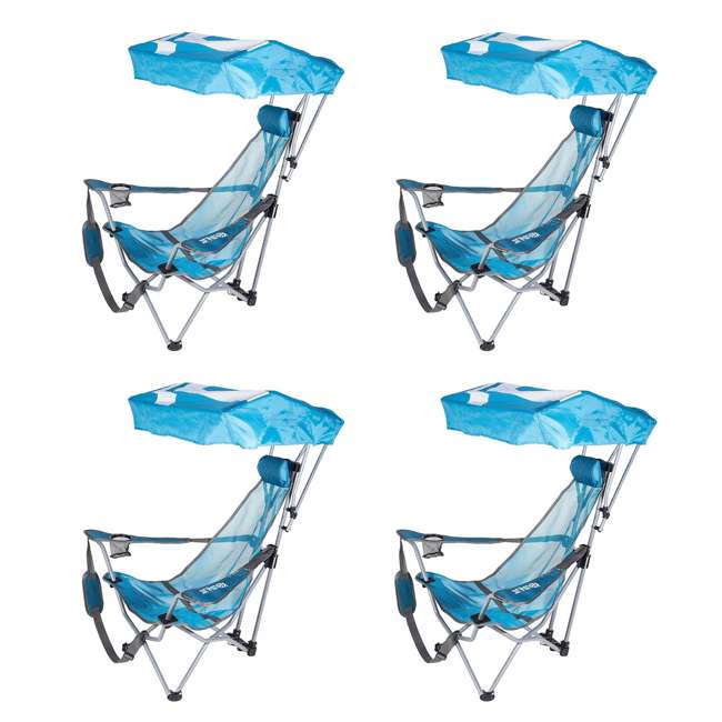 4 x 80163-SW Kelsyus Backpack Beach Folding Lawn Chair with Canopy, Teal (4 Pack)