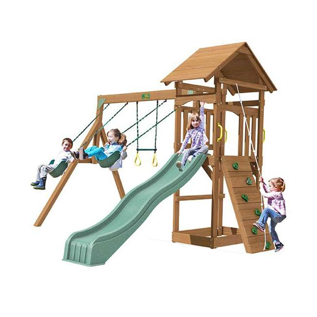 PS18RAL Creative Playthings PS18RAL Raleigh Kids Wooden Outdoor Swing Set Playground 4