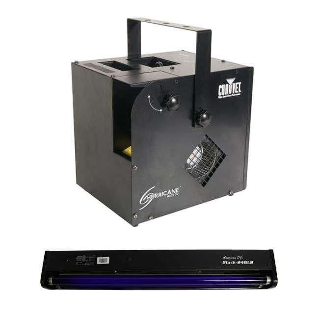 HURRICANE-HAZE2D + BLACK-24BLB Chauvet DJ Hurricane Haze 2D Water Smoke/Fog Machine w/ Remote & Black Light