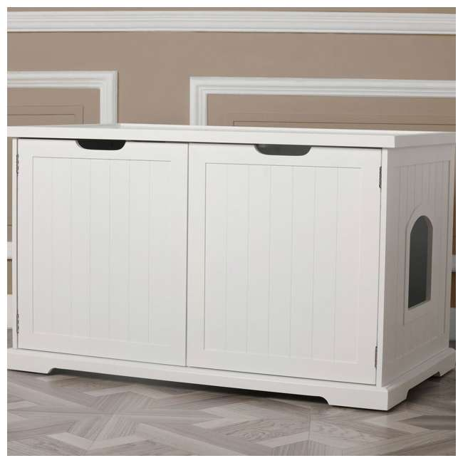 MPS010-U-D Merry Products Bench with Enclosed Cat Litter Washroom Box, White (Damaged) 7
