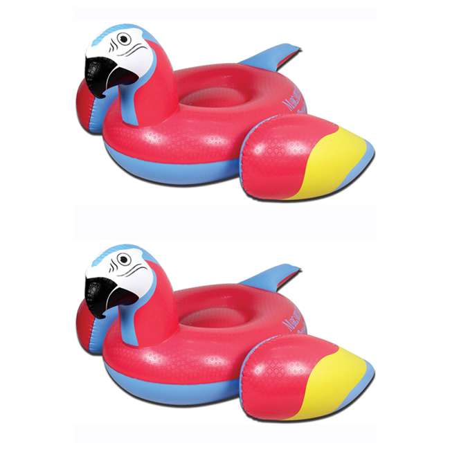 2183248-MW Margaritaville Swimming Pool Rideable Parrot Inflatable Float, Red (2 Pack)