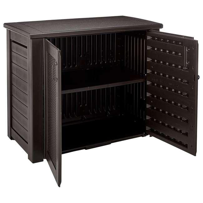 1863391 Rubbermaid Patio Chic Outdoor Cabinet Style Wicker Storage Deck Box, Black Oak 2