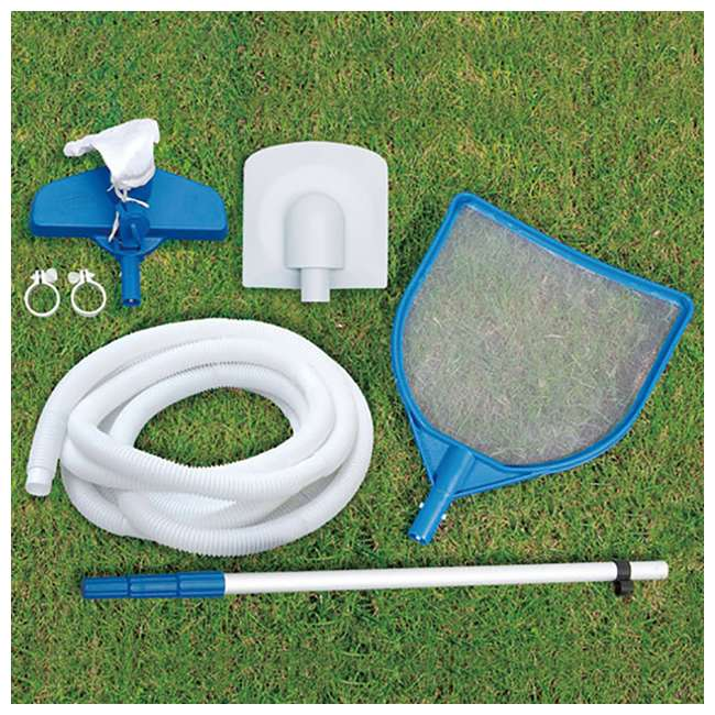 P40016481167 + QLC-42003 Summer Waves Elite 16 Ft Metal Frame Above Ground Pool w/ Pump & Cleaning Kit 6