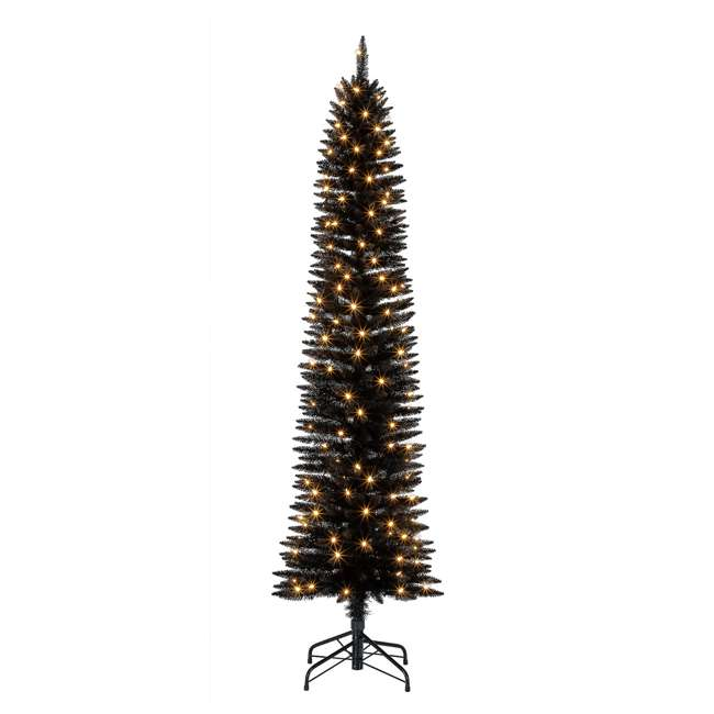 TV70CZ046L05 Home Heritage 7 Foot Pencil Artificial Tree with Warm White LED Lights, Black