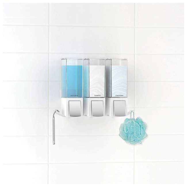 77354 Better Living CLEVER Luxury Rust Proof Shower/Bath Liquid Wall Dispenser with Hooks, White/Chrome 3