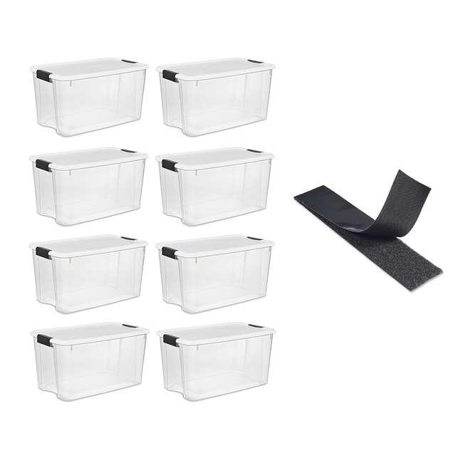 8 x 19889804 + 90197 Sterilite 70 Quart Box (8 Pack) Bundled with VELCRO® Brand Fastener Roll