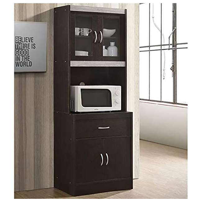 """HIKF96 CHOCO-GREY Hodedah Import 70"""" Tall Top/Bottom Enclosed Kitchen Cabinet w/ Drawer, Chocolate 1"""