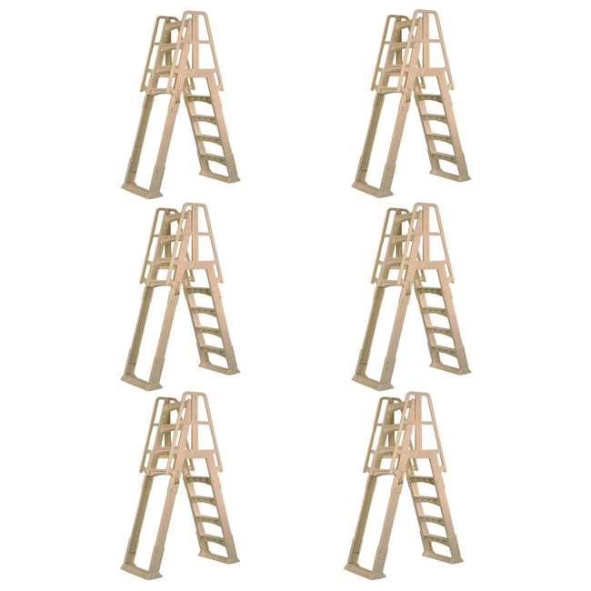 6 x SLA-T Vinyl Works A-Frame Ladder with Barrier for Pools 48 to 56 Inches Tall (6 Pack)