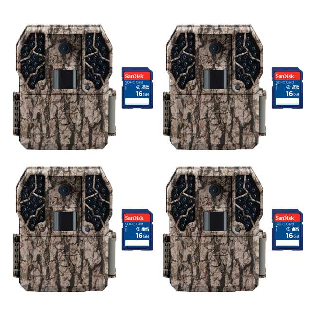 4 x STC-Z36NGCMO + 4 x SD4-16GB-SAN Stealth Cam Z36 No Glo 10MP Trail Game Camera, 4 Pack with SD Cards