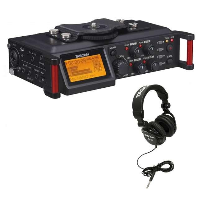 DR-70D + TH02-B Tascam 4-track PCM Recorder for DSLR Video Production + Home & Studio Headphones