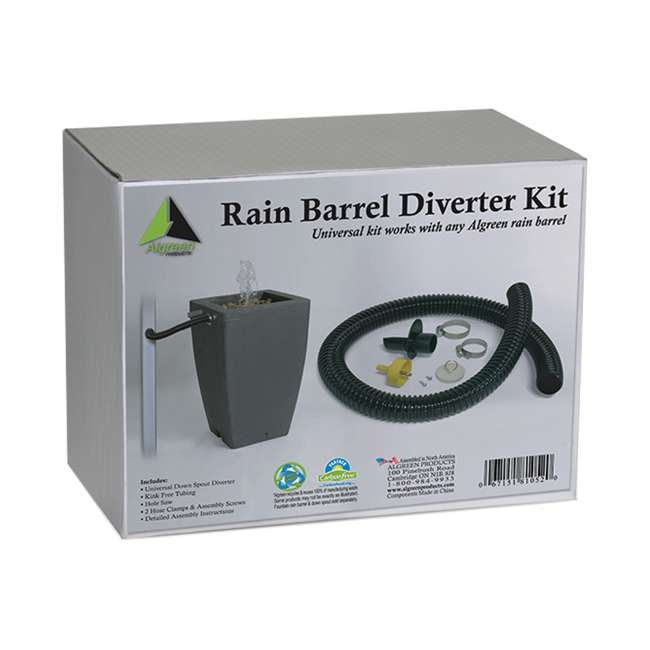 ALG-81052 Algreen 81052 Rain Barrel Deluxe Downspout Diverter Kit 2