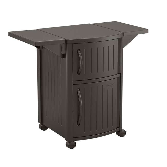 DCP2000JD Suncast Outdoor Meal Serving Station and Cabinet, Brown (2 Pack) 1
