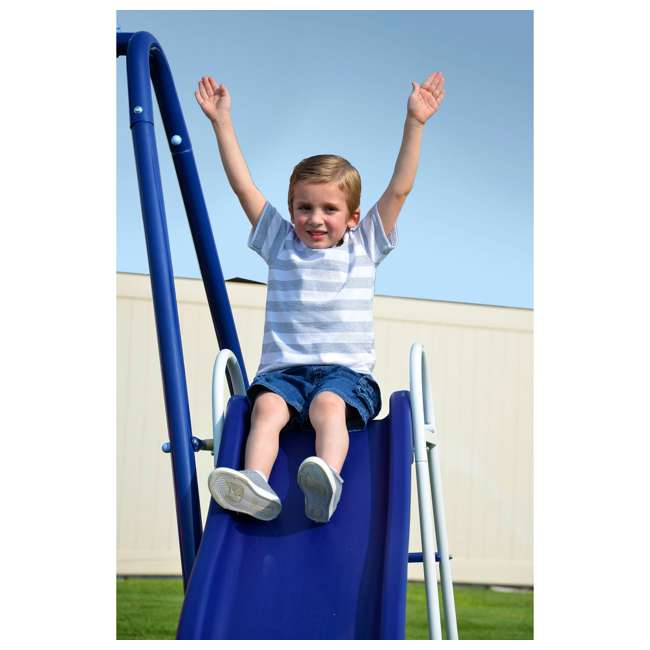 MSC-3242-BM Almansor Metal Outdoor Swing Set with Trampoline 8
