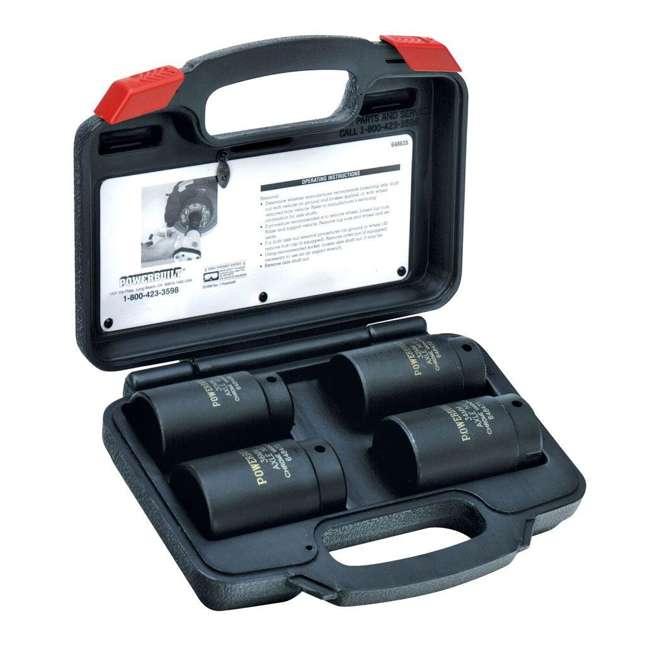 648635 Powerbuilt 648635 4 Pc Front Wheel Drive Axle Nut Socket Kit Set w/ Storage Case 1