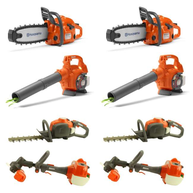 HV-TOY-522771104 + 2 x HV-TOY-589746401 + 2 x HV-T Husqvarna Chainsaw, Leaf Blower, Hedge Trimmer & Lawn Trimmer Toys 2-Packs Each