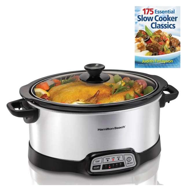 33473 + SLOWCOOKER175 Hamilton Beach Countertop 7 Qt Programmable Slow Cooker & 175 Recipe Cookbook