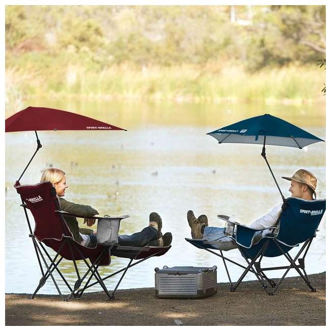 BRE03-620-01 Sport-Brella Umbrella Recliner Folding Chair, Red 3